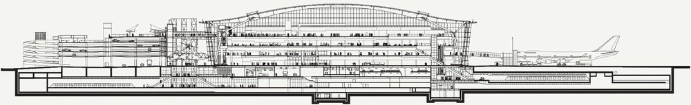 Architect's section of Terminal 5. The car park entrance courtyards, arrivals and departues and office space, the aircraft bays, transit system and tube station for the Piccadilly Line and Heathrow Express are all shown this drawing