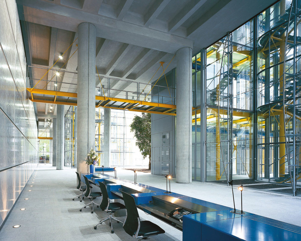 The triple height atrium reception to 88 Wood Street. The low iron glass allows for incredible views through the facade.