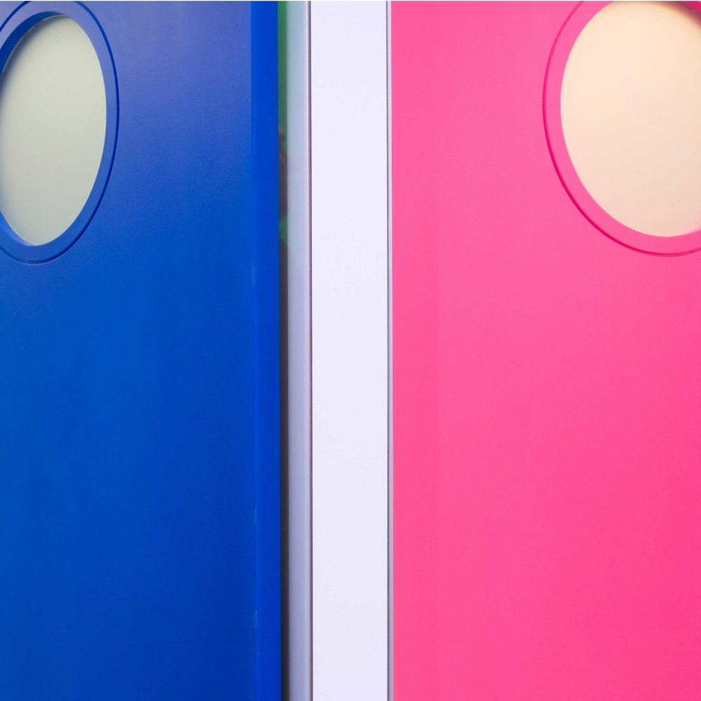 The toilet doors. Mens blue, Womens pink.