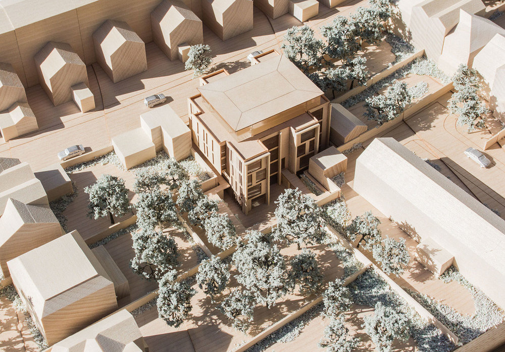 Architectural model of 21-28 Dalton Street. The Garden view is show with the houses from Chatsworth Way and Lancaster Avenue surrounding the property.
