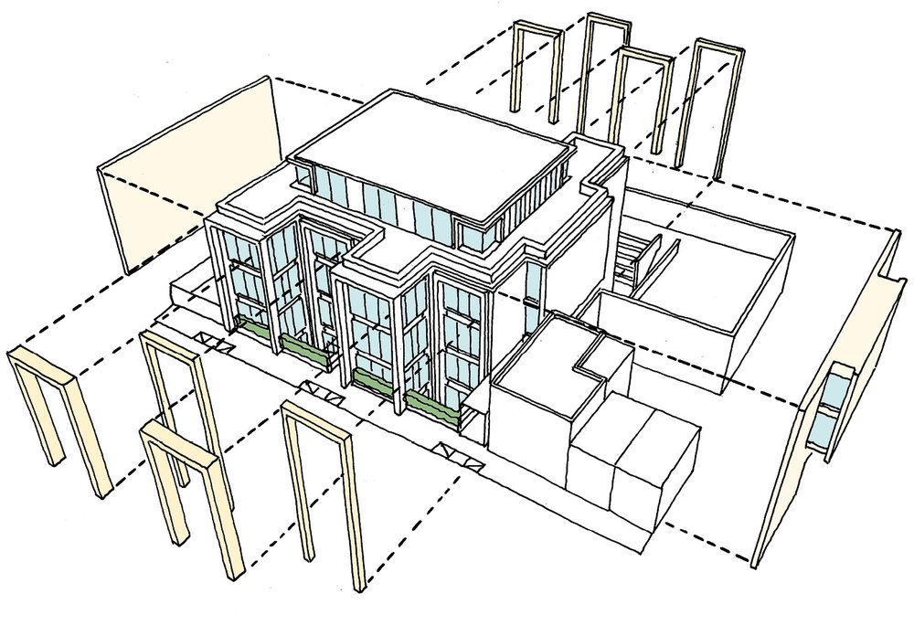 Axonometric sketch explaing the key Portland stone elements to the building.