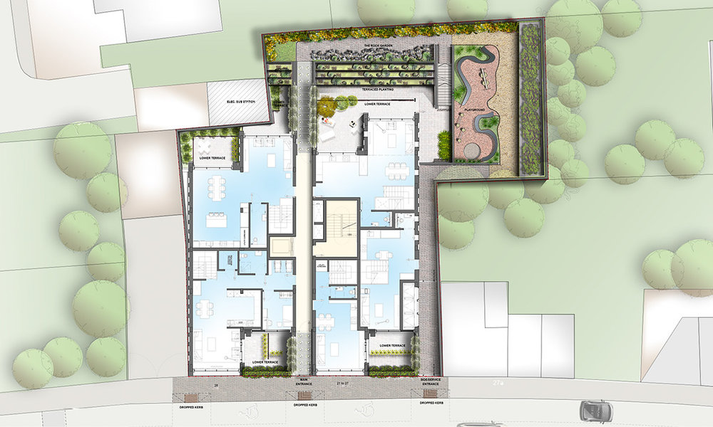 Landscape ground plan. Duplex apartments shown with the gardens including a rock garden, children's playground, secure bicycle parking, and a secrure bin store.