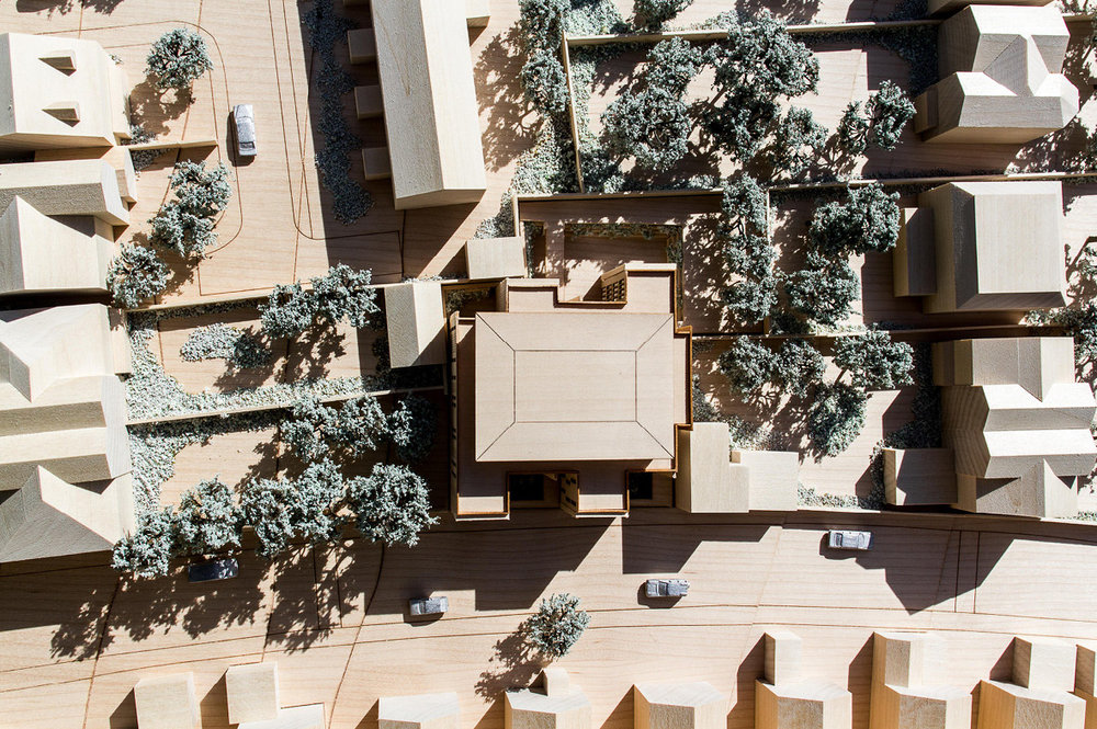 Plan view photograph of the architectural model. The buildings design has be driven to maximise the distances between the new deveopment and existing propertes.
