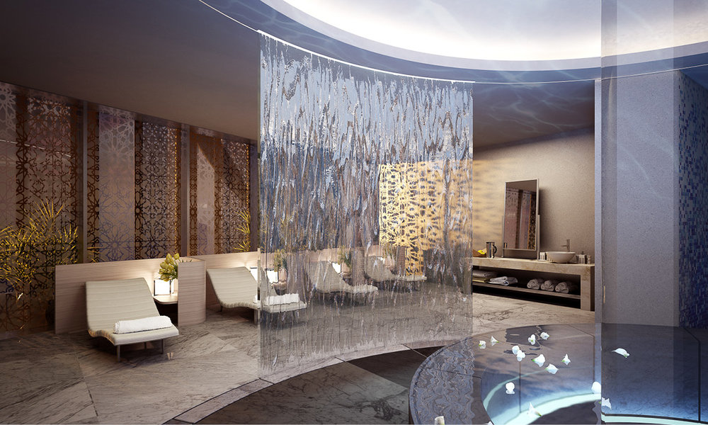 CGI by team macarie. The mens and womens spa are identicle, mirroring on the floor plan. The space focuses around a reflective pool with a steam room, sauna, plunge pool, and massage area surrounding it.