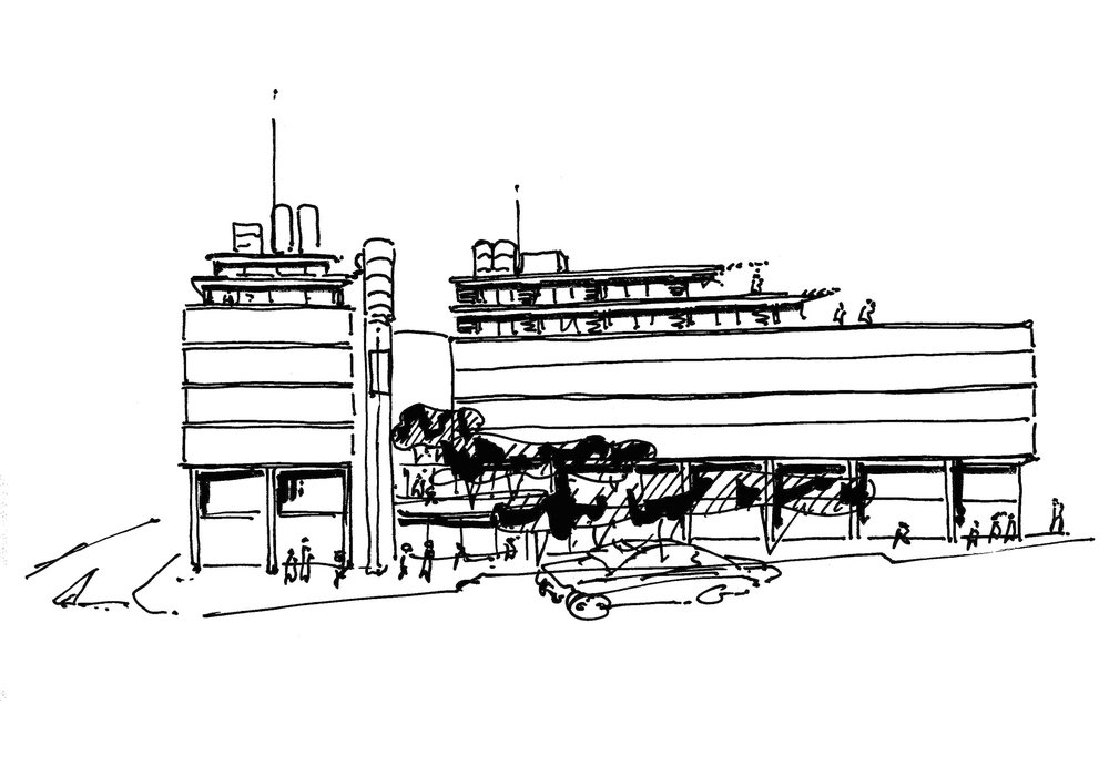 Concept sketch showing the terraced garden between the two splayed wings of the new building.