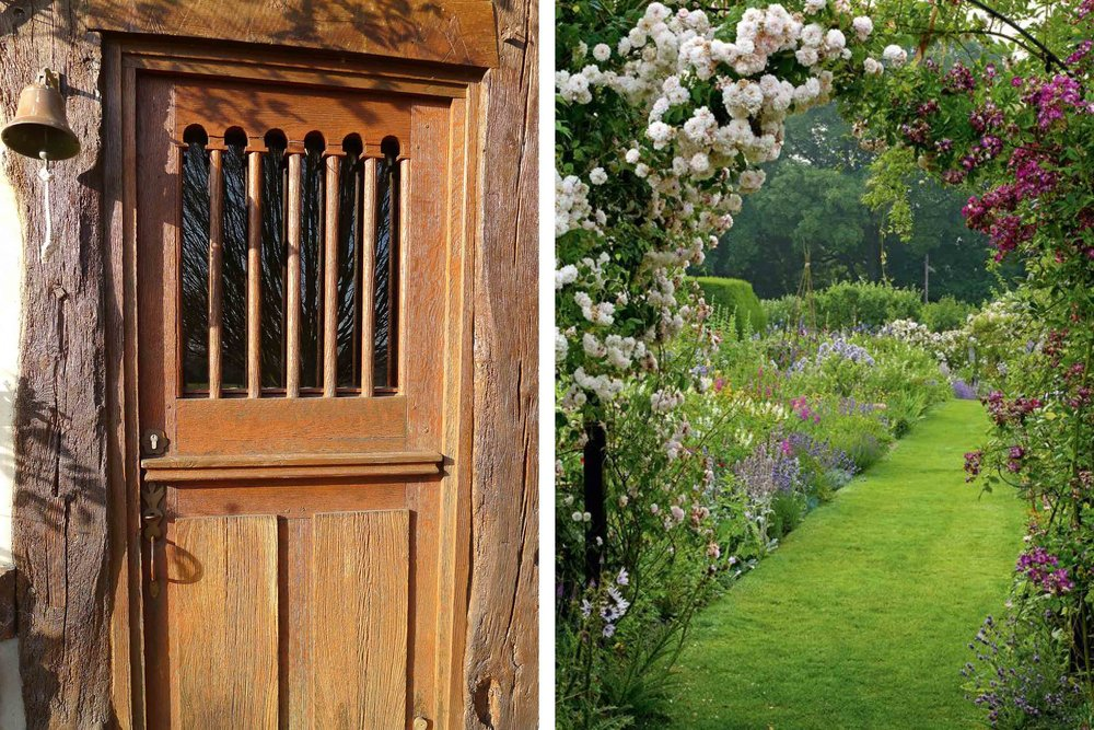 The garden door and  landscaped garden