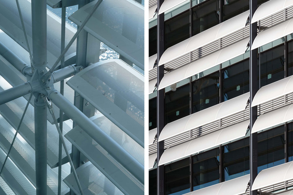 Details of the bre solaire on the RSHP designed facades