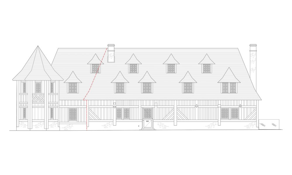 Rear elevation - architectural drawing - like for like extension with additional tower,