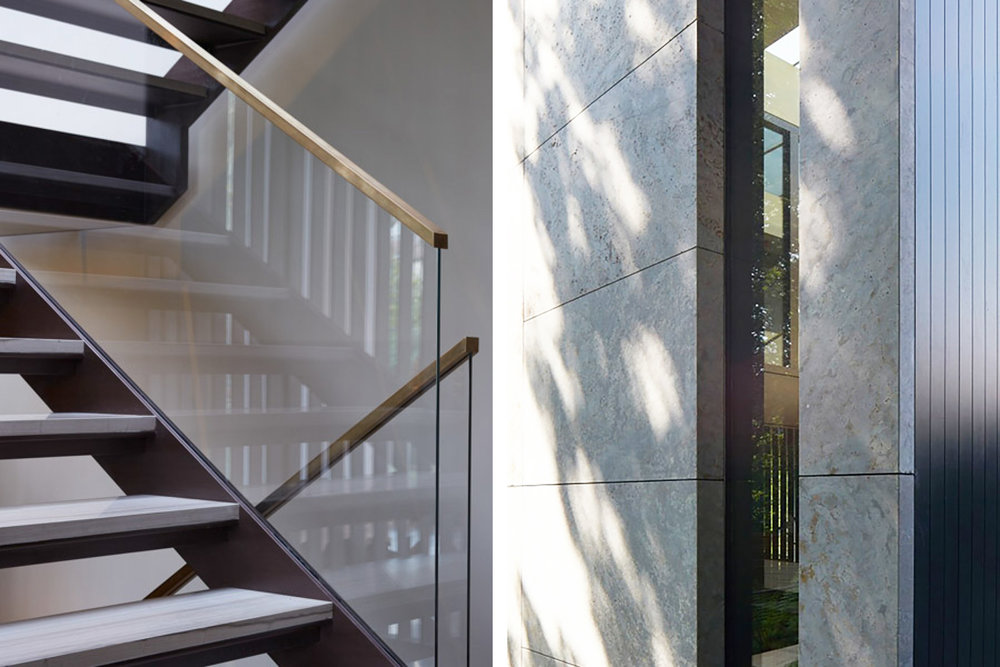 Glass and steel staircases. Vertical windows