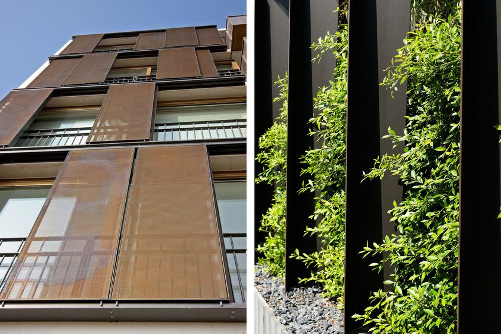 Movable shading panels, green walls and corten steel.