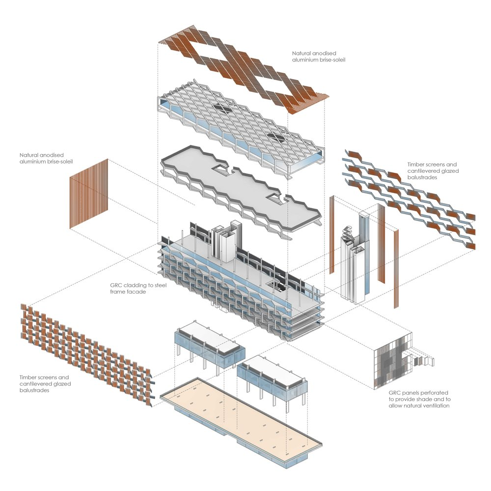 Exploded axonometric of the building showing the key construction components that make op the retail spaces, apartments and penthouses.