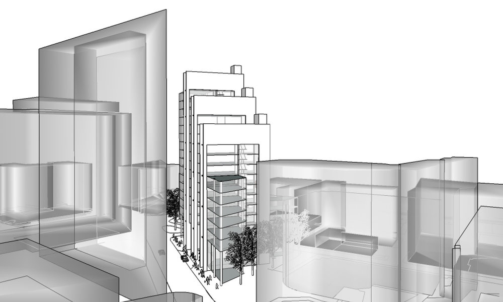 3D showing the steps of the Stuart Forbes Associates New Fetter Lane concept