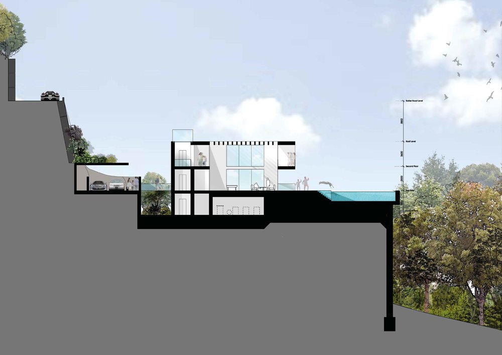 Section of the first villa concept - car parking to the rear of the property. This drawing focuses on the double height main space that opens onto the swimming pool.