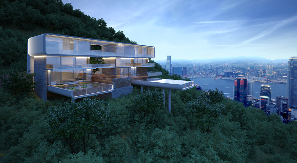 Barker Road, Hong Kong. Located above the peak tram, this luxury concept villa is perched amongst the cliff and trees of the Aberdeen Country Park.
