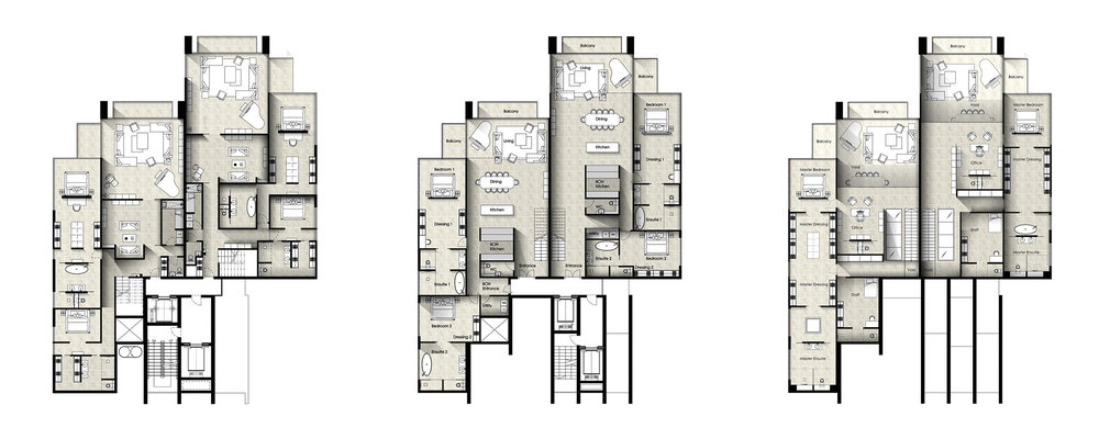 Architectural drawings - floor plans of the apartments and duplex penthouses. Contain a living room with baby grand piano. A dining room and kitchen in an open plan layout. A master bedrroom and ensuite with a free standing bath. Each apartment has room for a maid to assist in running and cleaning the property.