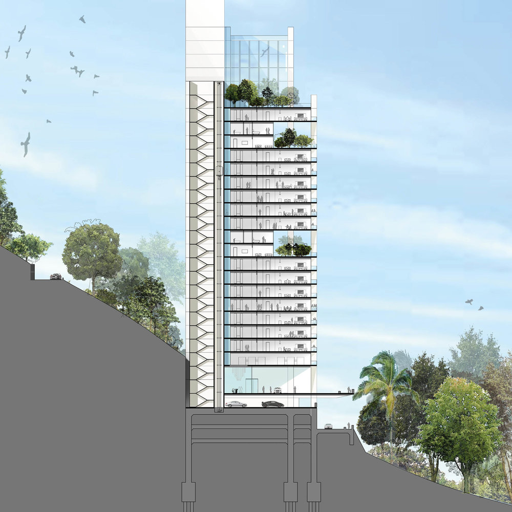 Section of the tower showing the apartments. The building is dug into the mountainside using the excess soil to create a flat platform to build the skyscraper on. The terrace and swimming pool cantilever out over the driveway approach.