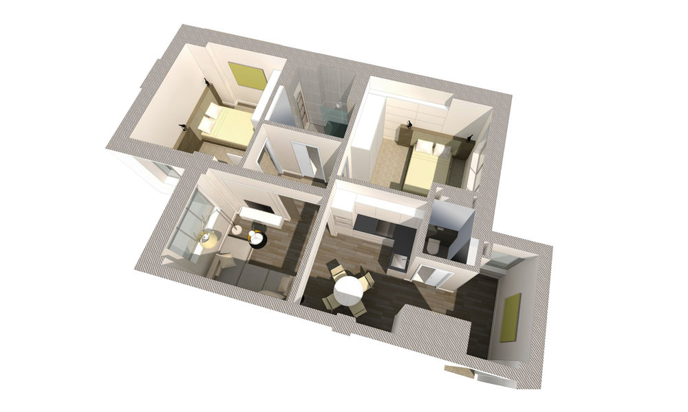 3D model of the 2 bedroom apartment. The main living space is combined with the kitcen to create a large open plan living environemnt.