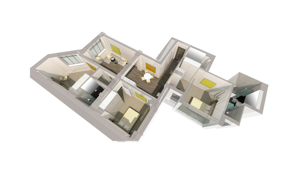 3D model of a 2 bedroom apartment. This apartment contains a master bedroom with an en-suite.