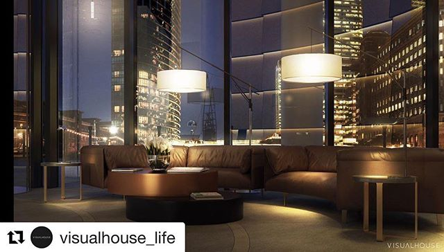 Repost from @visualhouse_life  Our reception and lobby concept, captured by the team at @visualhouse_life, for the Spire, London at night.  #repost #visualhouse_life #stuartforbesassociates #architects #residentialarchitects #riba #londonarchitects #residentialreception #residentialtower #canarywharf #tallbuildings #london