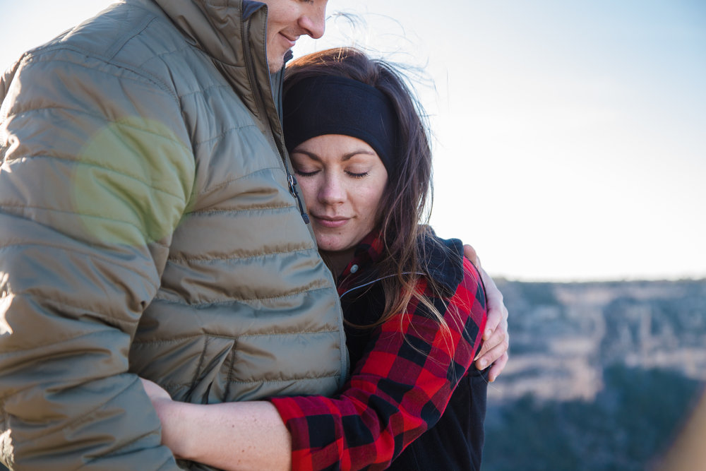 Shoshone Point surprise engagement photo session.