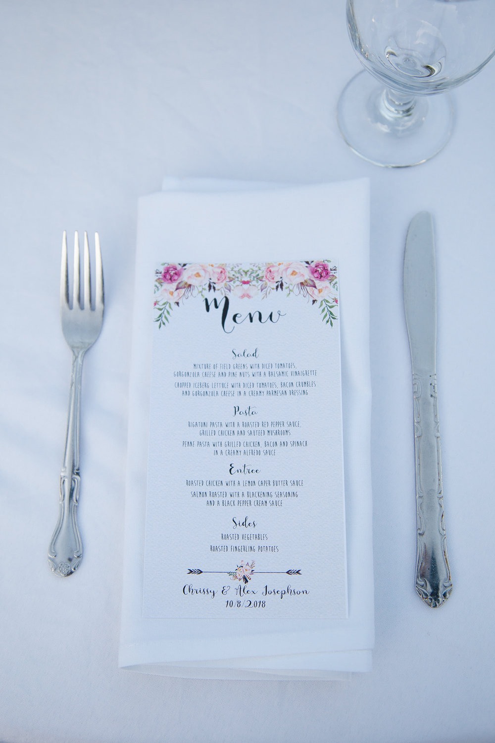 Wedding reception details at Chateau de Vie