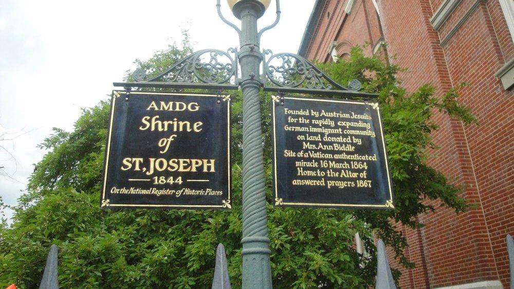 Historical marker for the  Shrine of St. Joseph , St. Louis, Mo.