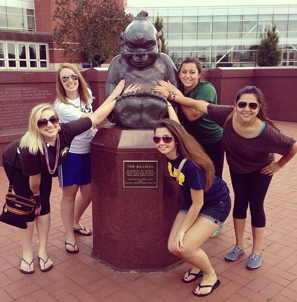 """Good luck"" Billiken statue, Saint Louis University. slu.edu."