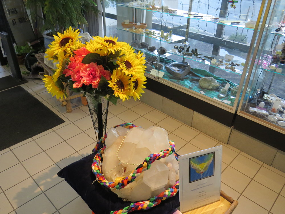 Adorned quartz and flowers greet patrons to Pathways New Age Books and Music. Photo by Diva Norton.