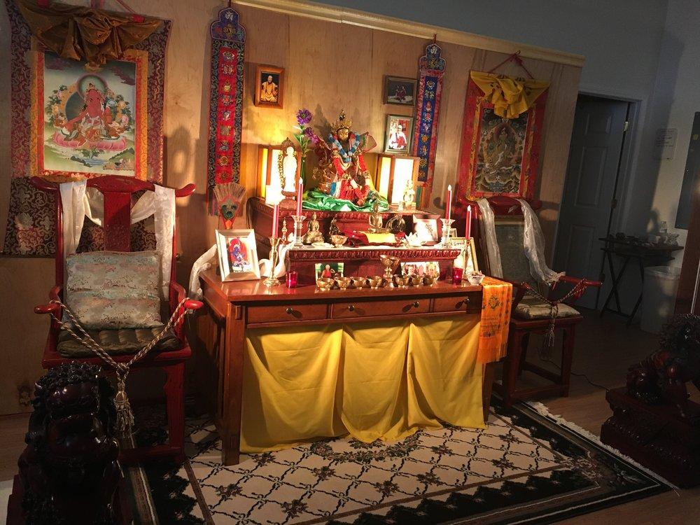 Devotional shrine inside the Blue Lotus Dharma Center. 2017.