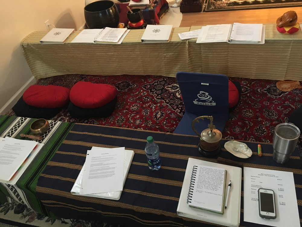 Seating arrangements inside the Blue Lotus Dharma Center. 2017.