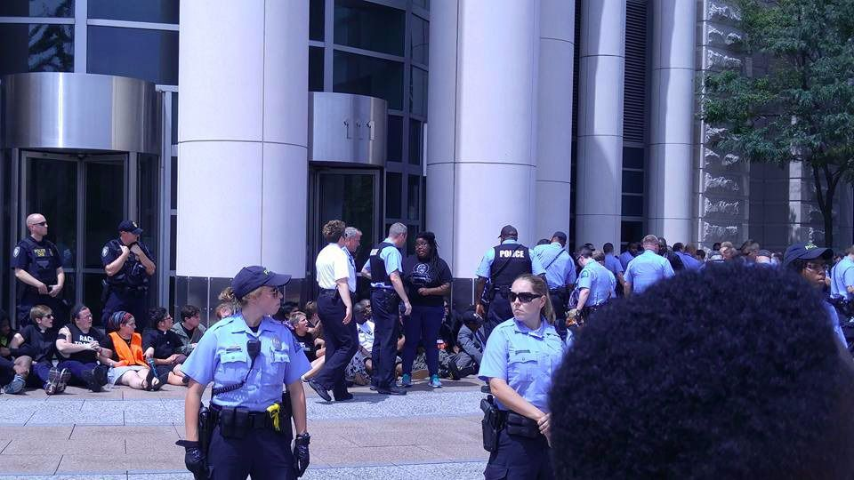 Maharat Neiss and other protesters, arrested outside of federal courthouse in 2015. Photo from  The Forward .