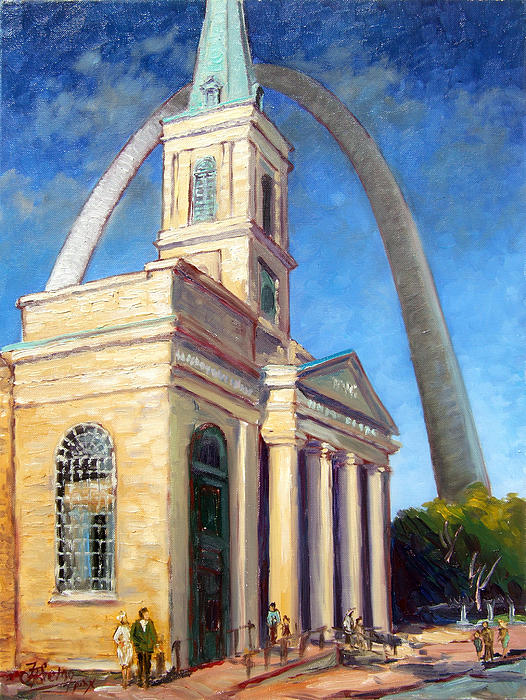 Old Cathedral Church In St. Louis  . Painting by Irek Szelag, 2011.