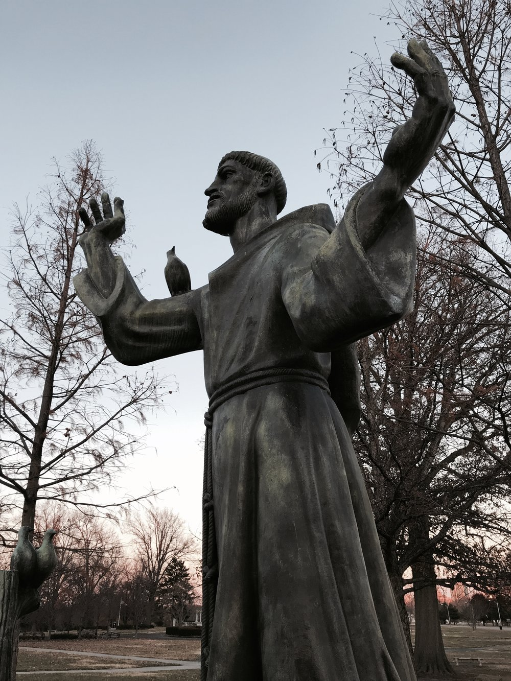 Statue of St. Francis. Forest Park, St. Louis, Mo. December 2017. Photo by Rachel Lindsey.