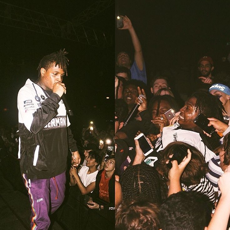 "$ki Mask The Slump God performing in the purple ""Orlando"" velour track pants."
