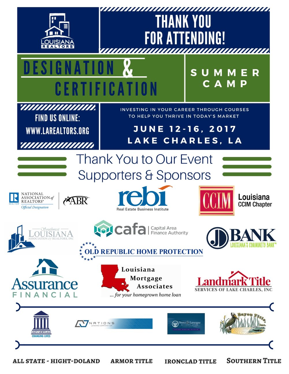Refreshments and breaks throughout the week were made possible thanks to the support of these sponsors!