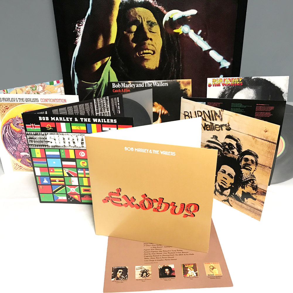 "BOB MARLEY and THE WAILERS Exodus, Legend, Survival, Confrontation, Burnin', Catch A Fire and Kaya "" SunPress Vinyl's product quality and excellent customer service enable us to provide much desired Bob Marley albums to music lovers worldwide. Exodus, Legend, Survival,  Confrontation, Burnin', Catch A Fire, Kaya will certainly put music lovers in a 'irie mood' of One Love! "" Tuff Gong International Brand NEW Pressing, Limited Edition Records for our Partners at TUFF GONG INTERNATIONAL Exodus and Confrontation on 180g Black Vinyl with all other titles being pressed on 140g Black Vinyl. Albums: Exodus, Legend, Survival,  Confrontation, Burnin', Catch A Fire, Kaya Label: Official Website 