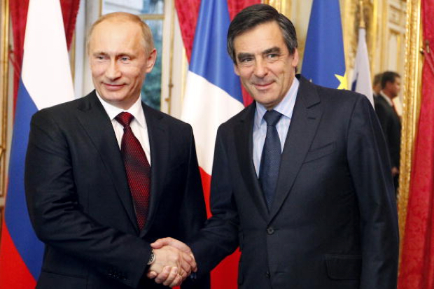 Putin and nominee for French PM, Fillon. Photo courtesy ofwww.spectator.co.uk.