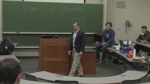 Tom Perriello speaking to law students. Photo courtesywww.nbc29.com