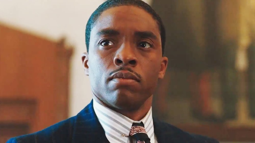 Chadwick Boseman portrays Thurgood Marshall, the first African-American to sit on the U.S. Supreme Court.
