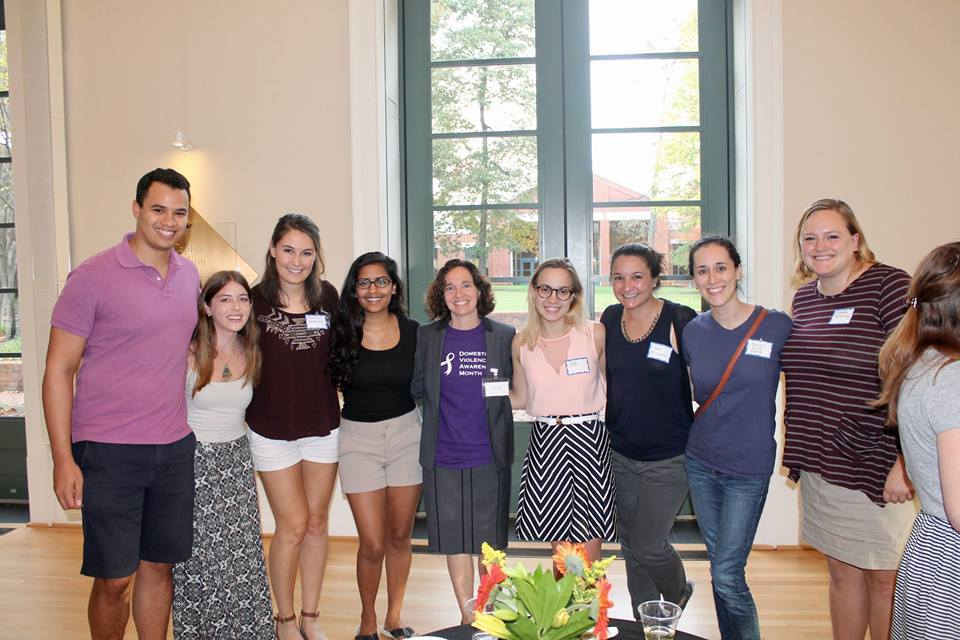 Dean Goluboff and members of Virginia Law Women wear purple to raise awareness for the Domestic Violence Project. Photo courtesy of Virginia Law Women.