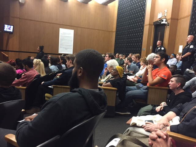 Charlottesville citizens listen to public comments. Photo courtesy of Jenna Goldman.