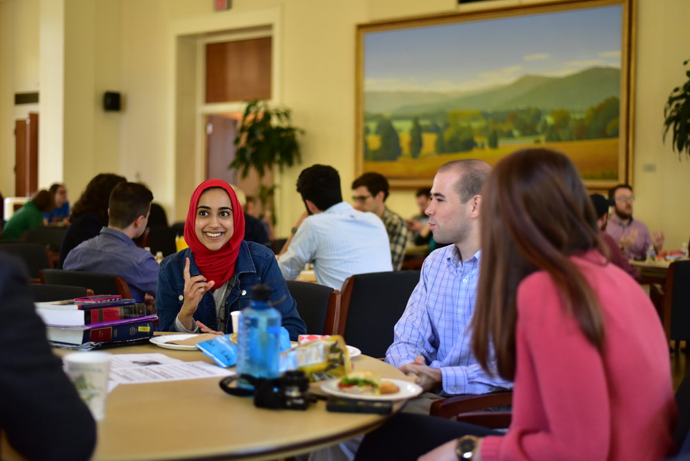 From left to right, Hamna Ahamad and Robert Smith participate in the CLG discussion. Photo courtesy of Eric Hall.