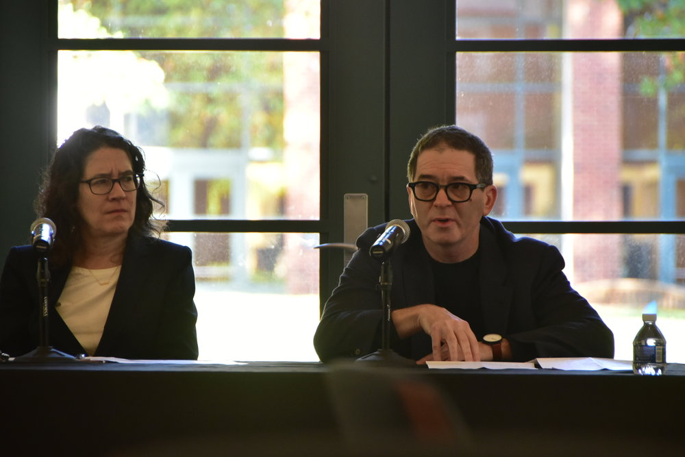 From left to right, Professor Deborah Hellman and Robert Blau, Managing Editor at Bloomberg News, speak at CLG Symposium. Photo courtesy of Eric Hall.