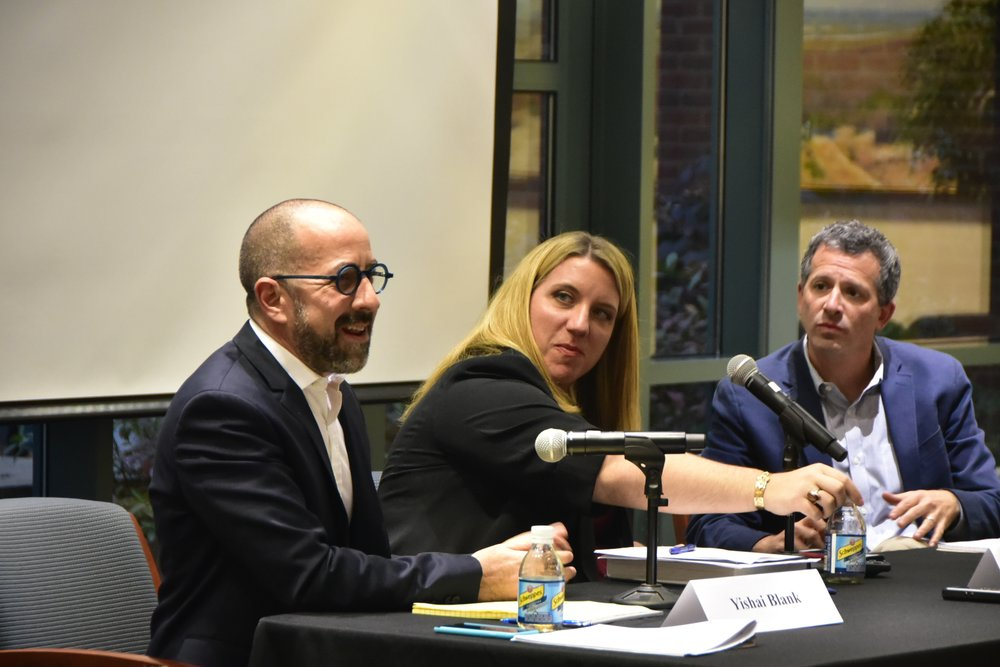 From left to right, Professors Blank, Brady, and Schragger discuss municipal free speech. Photo courtesy of The Law Weekly.