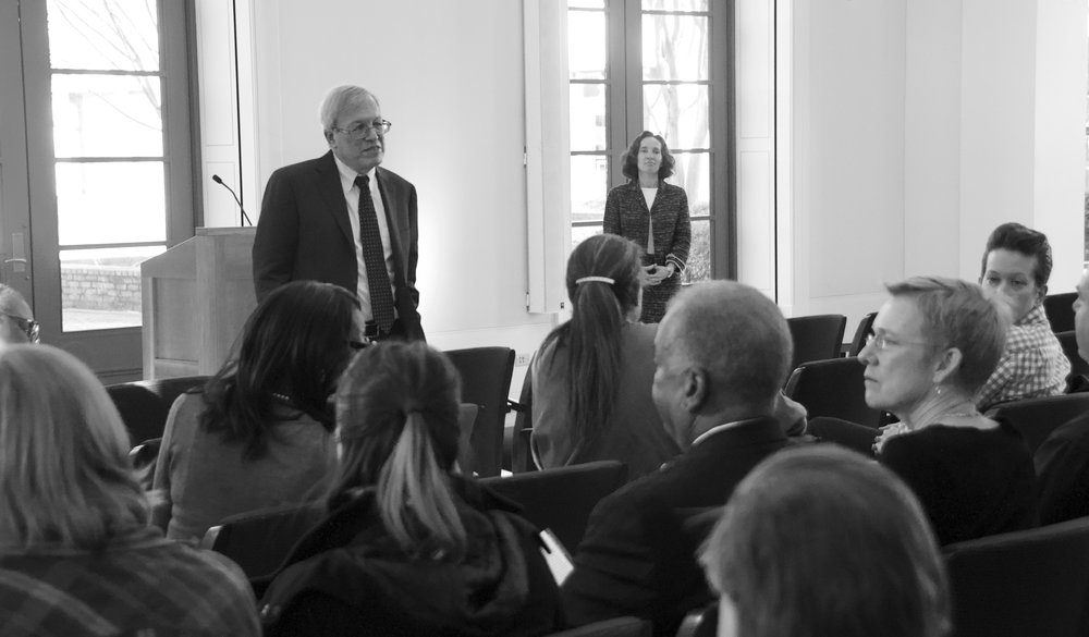 Dean Erwin Chemerinksy gives keynote address as Dean Goluboff looks on regally.  Photo courtesy of  The Law Weekly