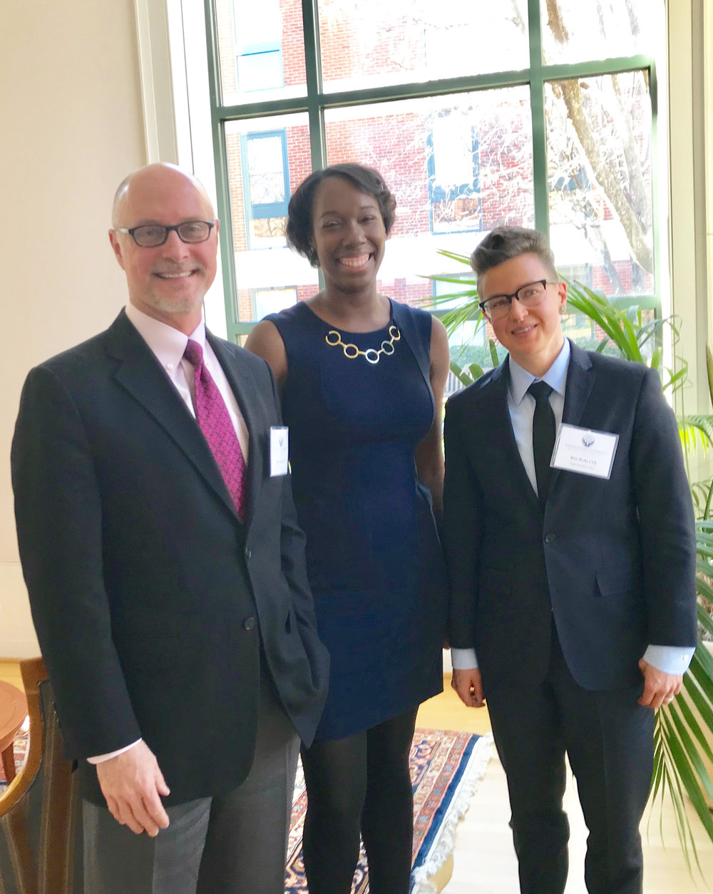From left to right: 2018 Shaping Justice Award recipients Jeff Kerr '87, Jeree Thomas '11, and Kim Rolla '13. Photo courtesy of Cheryl Harris.