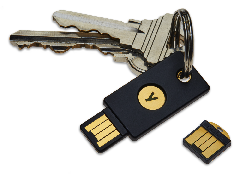 A Yubikey, which provides an alternative token to phones for two-factor authentication. Photo courtesy Wikipedia.
