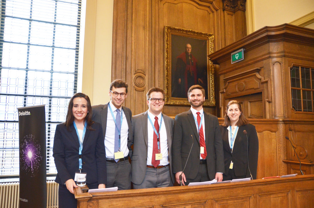 Julia Wynn, Brandon Dubov, Phil Ogea, David Rubin, and Christina McLeod in court in Leuven. Photo courtesy Philip Ogea.
