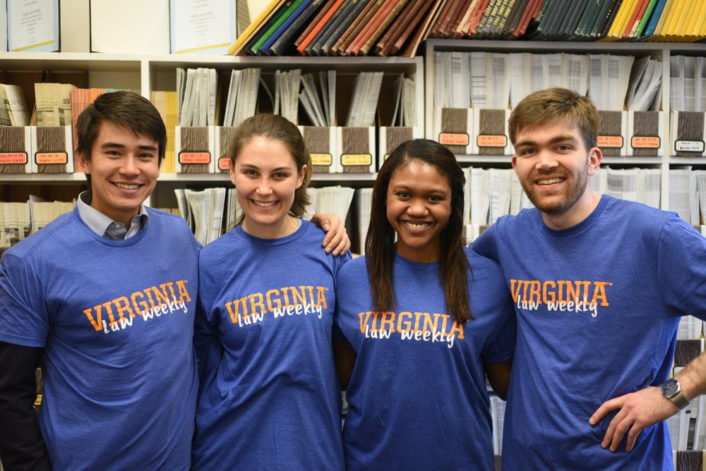 From left to right: Eric Hall, Jenna Goldman, Lia-Michelle Keane, and Gregory Ranzini. Photo courtesy of  Virginia Law Weekly.