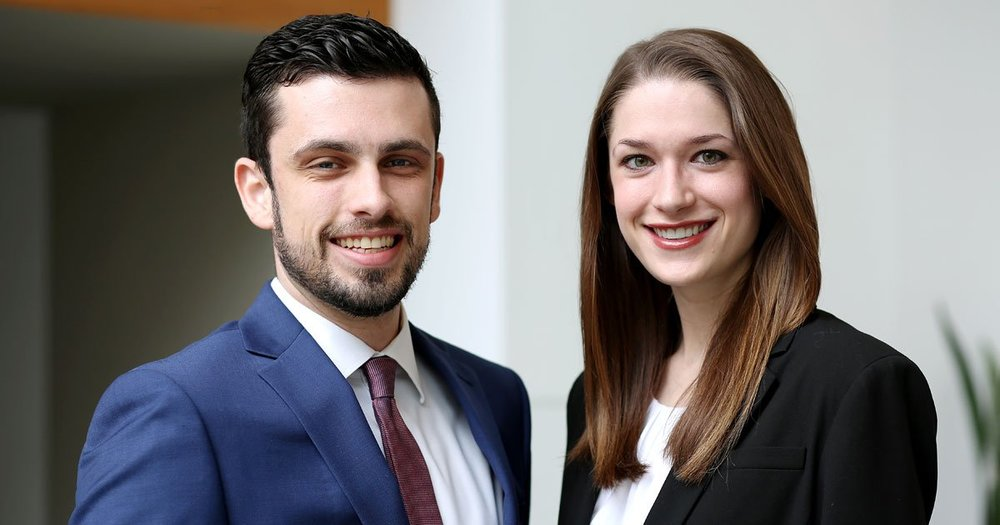 From left to right: Scott Harman '19 and Kendall Burchard '19. Photo courtesy of University of Virginia School of Law.